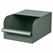 РЕЙСА Контейнер, серо-зеленый, металлический, 17.5x25.0x12.5 см