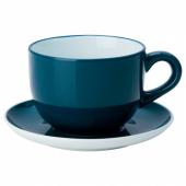 НОРДБИ Чашка чайная с блюдцем, темная бирюза, 73 сл