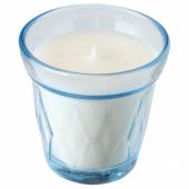 ВЭЛЬДОФТ Ароматическая свеча в стакане, свежесть белья, голубой, 8 см