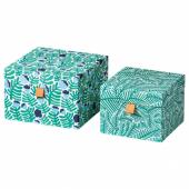 ЛАНКМОЙ Декоративная коробочка, 2 шт., зеленый/синий, с цветочным орнаментом