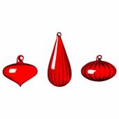 ВИНТЕР 2020 Декоративный шарик, 3 шт., различные формы, стекло красный