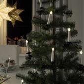 СТРОЛА Светодиодная гирлянда, 10 ламп, с батарейным питанием, в форме свечи, с зажимом