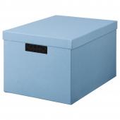 ТЬЕНА Коробка с крышкой, синий, 25x35x20 см