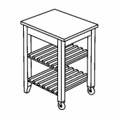 БЕКВЭМ Столик с колесами, береза, 58x50 см