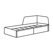 ФЛЕККЕ Каркас кушетки с 2 ящиками, черно-коричневый, 80x200 см