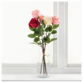 СМИККА Цветок искусственный, Роза, белый, 52 см