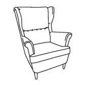 СТРАНДМОН Кресло с подголовником, Шифтебу коричневый