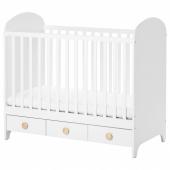 ГУНАТ Кроватка детская, белый, 60x120 см
