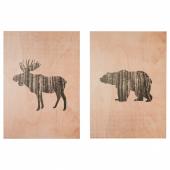 ЛОКАБРУНН Картина на дереве, Дикие животные, 50x70 см