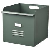 РЕЙСА Контейнер, серо-зеленый, металлический, 32x35x32 см