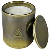 ОСИНЛИГ Ароматическая свеча в банке, Дрова и специи, темно-зеленый, 10 см
