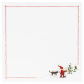ВИНТЕР 2020 Салфетка под приборы, орнамент «Санта Клаус» белый/красный, 37x37 см