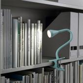 НЭВЛИНГЕ Лампа с зажимом, светодиодная, голубой