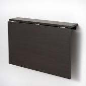НОРБЕРГ Стол откидной стенного крепежа, черно-коричневый, 74x60 см