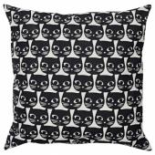 МАТТРАМ Подушка, белый, черный кот, 40x40 см