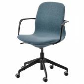 ЛОНГФЬЕЛЛЬ Рабочий стул с подлокотниками, Гуннаред синий, черный
