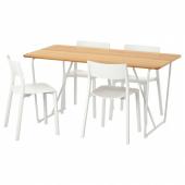ОВРАРЮД / ЯН-ИНГЕ Стол и 4 стула, белый бамбук, белый, 150 см