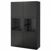 БЕСТО Комбинация д/хранения+стекл дверц, Лаппвикен, Синдвик черно-коричневый прозрачное стекло, 120x40x192 см