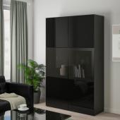 БЕСТО Комбинация д/хранения+стекл дверц, черно-коричневый, Сельсвикен глянцевый/черный дымчатое стекло, 120x40x192 см