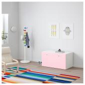 СТУВА / ФРИТИДС Скамья с отделением для игрушек, белый, светло-розовый, 90x50x50 см
