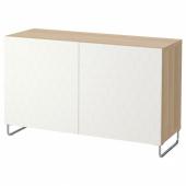 БЕСТО Комбинация для хранения с дверцами, под беленый дуб, вассвикен/суларп белый, 120x40x74 см