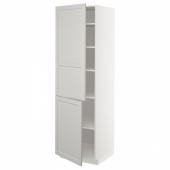 МЕТОД Высокий шкаф с полками/2 дверцы, белый, Лерхюттан светло-серый, 60x60x200 см