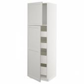 МЕТОД / МАКСИМЕРА Высокий шкаф/2дверцы/4ящика, белый, Лерхюттан светло-серый, 60x60x200 см