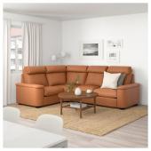 ЛИДГУЛЬТ 4-местный угловой диван, Гранн/Бумстад золотисто-коричневый