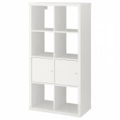КАЛЛАКС Стеллаж с дверцами, глянцевый/белый, 77x147 см