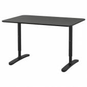 БЕКАНТ Письменный стол, ясеневый шпон/черная морилка, черный, 120x80 см