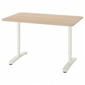 БЕКАНТ Письменный стол, дубовый шпон, беленый, белый, 120x80 см