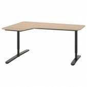 БЕКАНТ Углов письм стол левый, дубовый шпон, беленый, черный, 160x110 см