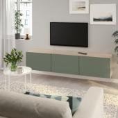 БЕСТО Тумба под ТВ, с дверцами, под беленый дуб, Нотвикен серо-зеленый, 180x42x38 см