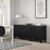 БЕСТО Комбинация для хранения с дверцами, черно-коричневый, тиммер/стуббар черный, 180x42x74 см