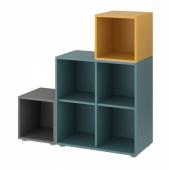 ЭКЕТ Комбинация шкафов с ножками, темно-серый серо-бирюзовый, золотисто-коричневый, 105x35x107 см