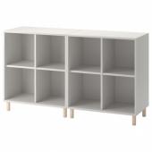ЭКЕТ Комбинация шкафов с ножками, светло-серый, дерево, 140x35x80 см