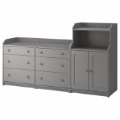 ХАУГА Комбинация д/хранения, серый, 208x116 см