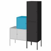 ЛИКСГУЛЬТ Комбинация д/хранения, серый синий, антрацит, 95x35x142 см