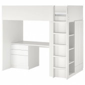 СМОСТАД Кровать-чердак, белый с рамой, с письменным столом с 4 ящиками, 90x200 см