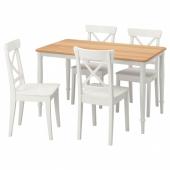 ДАНДЭРЮД / ИНГОЛЬФ Стол и 4 стула, белый, белый, 130x80 см