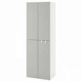 СМОСТАД / ОПХУС Гардероб, белый серый, с 2 платяными штангами, 60x40x180 см