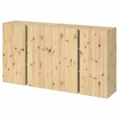 ИВАР Навесной шкаф с дверями, сосна, 160x30x83 см