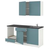 КНОКСХУЛЬТ Кухня, глянцевый, синяя бирюза, 180x61x220 см