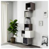 ЭКЕТ Комбинация настенных шкафов, белый/темно-серый, светло-серый, 80x35x210 см