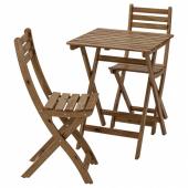 АСКХОЛЬМЕН Стол+2стула,д/сада, серо-коричневая морилка