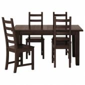 СТУРНЭС / КАУСТБИ Стол и 4 стула, коричнево-чёрный, 147 см