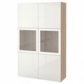 БЕСТО Комбинация д/хранения+стекл дверц, под беленый дуб, Сельсвикен глянцевый/белый матовое стекло, 120x40x192 см