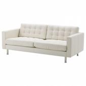 ЛАНДСКРУНА 3-местный диван-кровать, Гранн, Бумстад белый/металл