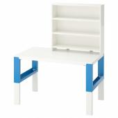 ПОЛЬ Письменн стол с полками, белый, синий, 96x58 см