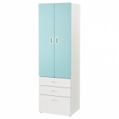 СТУВА / ФРИТИДС Шкаф платяной, белый, голубой, 60x50x192 см